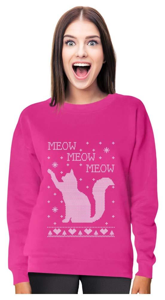 Meow Meow Meow - Big Ugly Christmas Cat Lovers Gift Women Sweatshirt