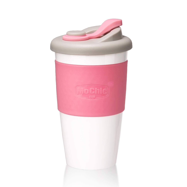 MOCHIC CUP Reusable Coffee Mug PLA Coffee Cup with Lid Natural Biodegradable Eco Friendly Travel Mug BPA Free Dishwasher and Microwave Safe (Pink, 16OZ/470ML)