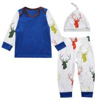 SeClovers Newborn Baby Christmas Outfits Long Sleeve ELF Tops + Pants + Hat 3 Pcs