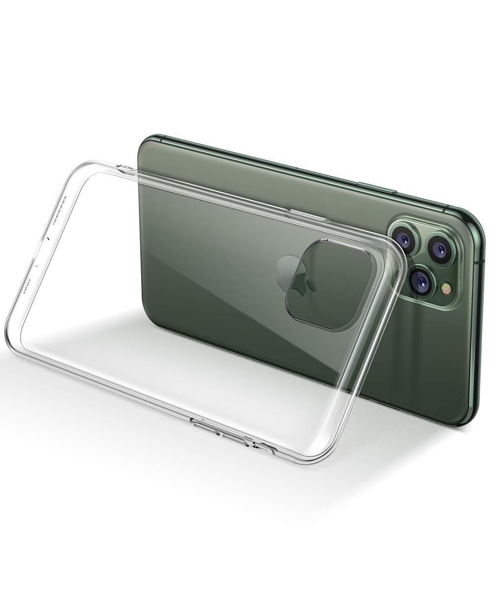 MOBOSI Clear iPhone 11 Pro case, Slim Fit Soft TPU Protective Cover Shockproof Anti-Scratch Cell Phones with Electroplated Frame Designed for Phone 11 Pro 5.8 Inch 2019 (Clear)