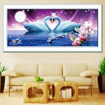 Faraway Swan Eternal Love DIY 5D Full Diamond Painting Round Kits Diamond Mosaic Rhinestone Painting Home Decor 35x80cm
