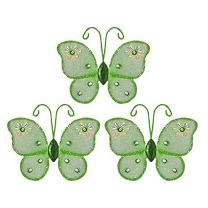 "The Butterfly Grove Adelaide Butterfly Decoration 3D Hanging Mesh Nylon Decor, Green Honeydew, Mini, 3"" x 3"""