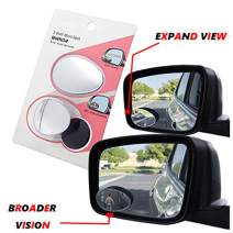 HTTMT - 360° Adjustable Oval Wide Angle frameless Rear Side View Car Blind Spot Mirror [P/N: 3R055-BK]