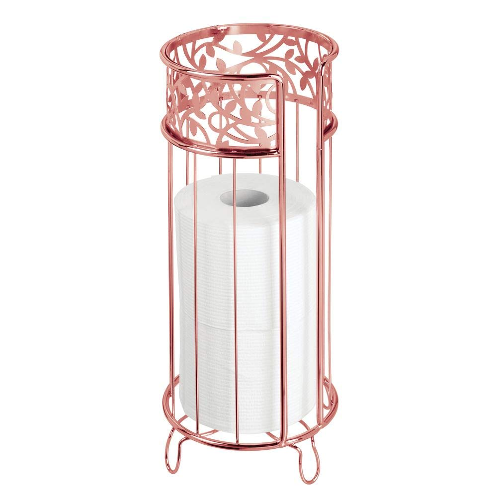 mDesign Decorative Free Standing Toilet Paper Holder Stand with Storage for 3 Rolls of Toilet Tissue - for Bathroom/Powder Room - Holds Mega Rolls - Durable Metal Wire - Rose Gold