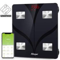 Bluetooth Body Fat Scale by Aikoper, USB Rechargeable Smart Digital Bathroom Weight Scale, with 13 Data iOS & Android App, Body Composition Analyzer for BMI, Body Fat%, Muscle Mass, Water, 396lbs