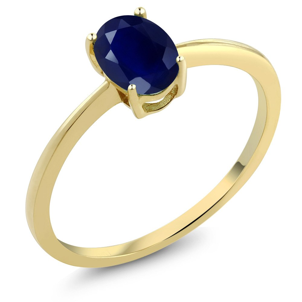 Gem Stone King 1.02 Ct Oval Blue Sapphire 10K Yellow Gold Solitaire Engagement Ring (Available 5,6,7,8,9)