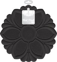 Talisman Designs 1452 No-Slip Grip Silicone Hot Pad and Trivet, Black