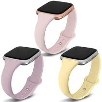 Kmasic Compatible Fitbit Versa/Fitbit Versa 2/Fitbit Versa Lite Edition Bands 3 Pack, Narrow Slim Soft Silicone Small Replacement Wristband for Versa/Versa Lite Edition Women Men