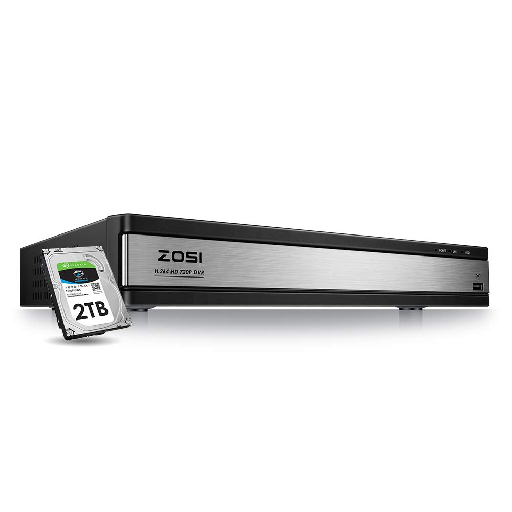 ZOSI 1080N 16 Channel Security DVR Recorder, H.264 720p Hybrid 4-in-1(Analog/AHD/TVI/CVI) CCTV DVR for Security Camera,Motion Detection,Mobile Remote Control,Email Alarm,2TB Hard Drive Included
