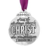 "Wendell August ""I Can Do All Things Through Christ Religious Ornament - Hand-Hammered Aluminum Hanging Ornament with Scripture Quote - Made in USA Tree Decoration, 3.5"" x 3.125"""