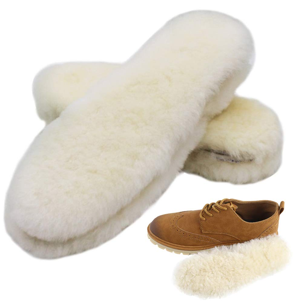 Bacophy 2 Pairs Genuine Thick Sheepskin Fleece Insoles for Women, Premium Warm Fluffy Wool Replacement Cozy Breathable Inner Soles for Shoes Boots Slippers Women Size 7