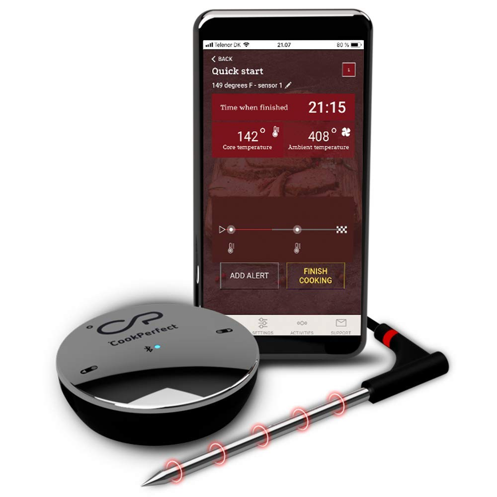 CookPerfect Smart Wireless Meat Thermometer with 400ft Bluetooth Range for The Oven Grill Kitchen BBQ Smoker Rotisserie with Bluetooth and WiFi Digital Connectivity (1 Probe Included)