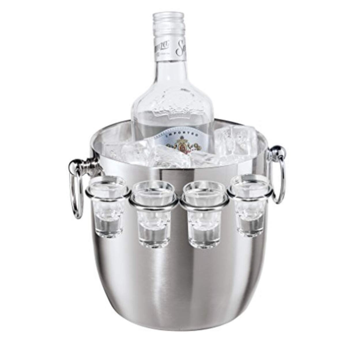Oggi Ice Bucket with Shot Glass Set, 9-Piece, Stainless