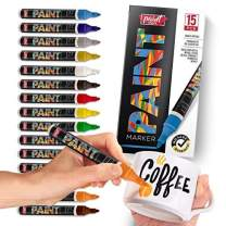 Paint Mark Quick-Dry Paint Pens - Write On Anything! Rock, Wood, Glass, Ceramic & More! Low-Odor, Oil-Based, Medium-Tip Paint Markers (15 Pack)