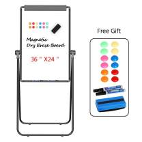 Yaheetech Stand White Board 36x24 Inch Magnetic Dry Erase Board w/Flipchart Pad Double Sided Easel Board Portable Whiteboard