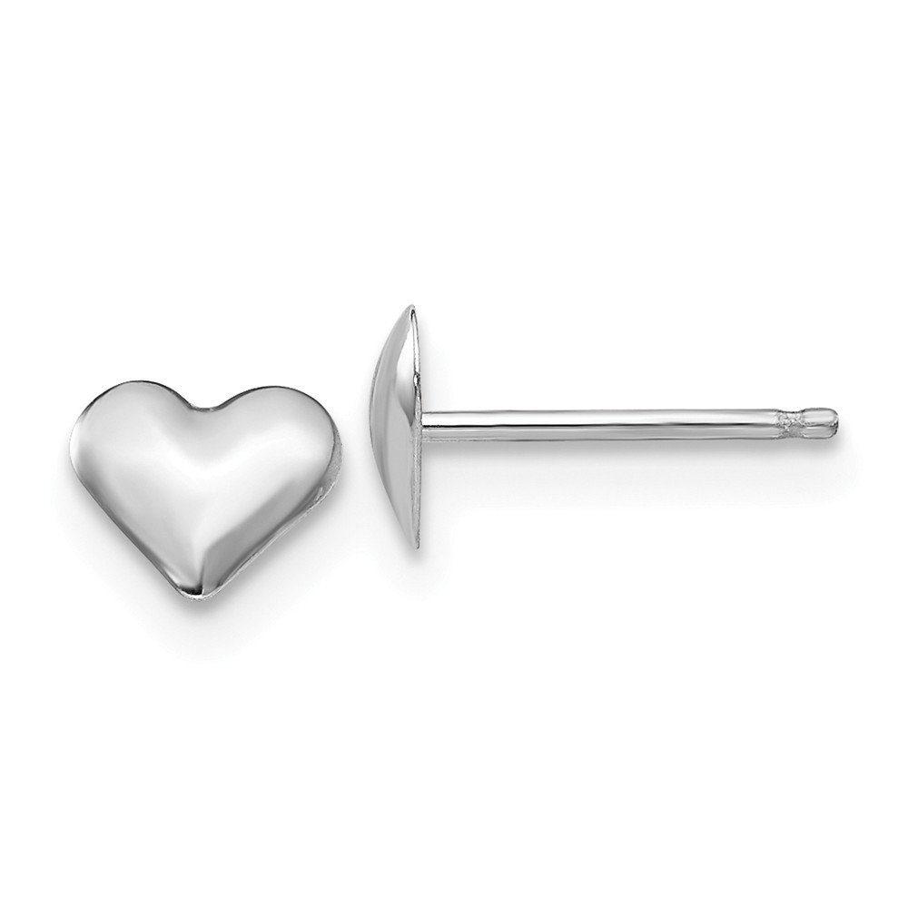 14k White Gold Small Heart Post Stud Earrings Love Fine Mothers Day Jewelry For Women Gifts For Her