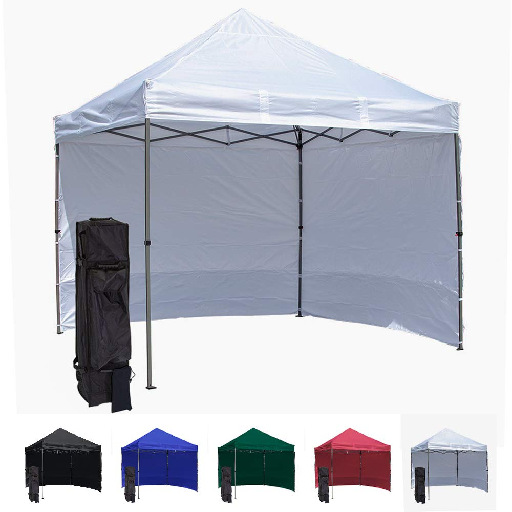 Vispronet 10x10 Pop Up Canopy Tent With 2 Side Walls – Compact Edition – Durable Aluminum Tent Frame, Water-Resistant Canopy and Sidewalls, Premium Stake Kit and Heavy-Duty Wheeled Storage Bag (White)