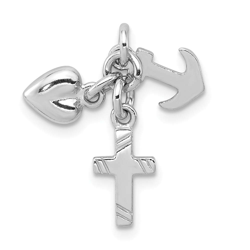 925 Sterling Silver Faith Hope Charity Pendant Charm Necklace Religious Fine Jewelry For Women Gifts For Her