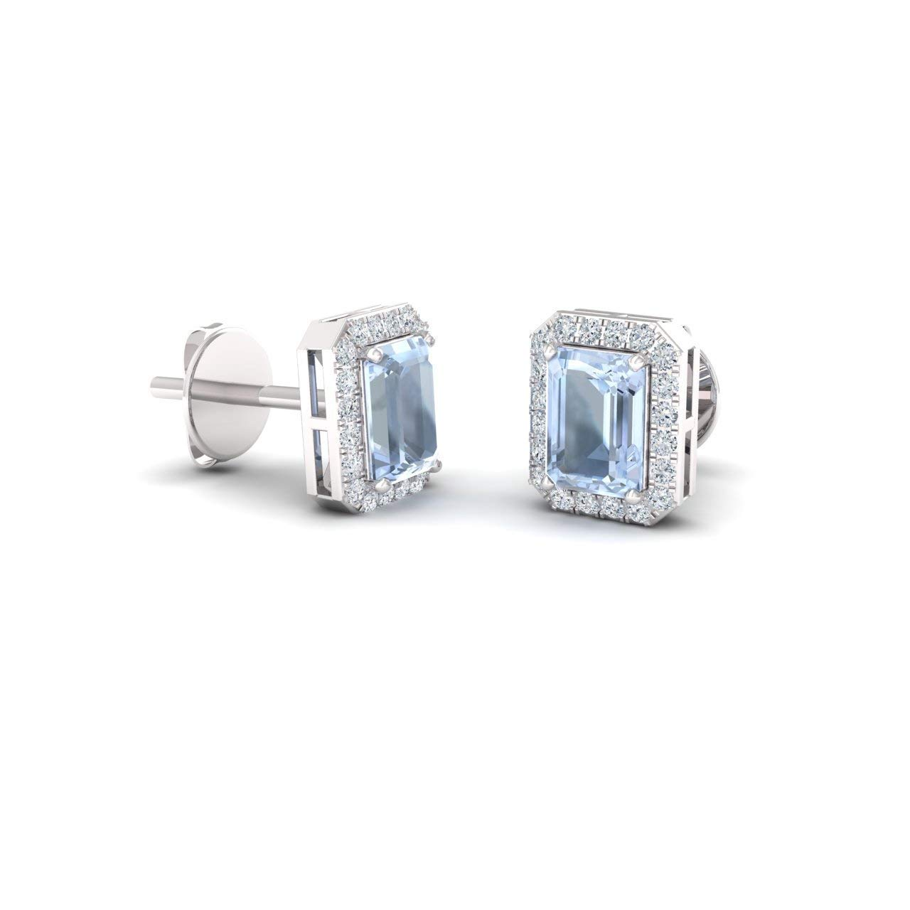 Diamondere Natural and Certified Gemstone and Diamond Petite Stud Earrings in 14K White Gold | 0.67 Carat Halo Earrings for Women