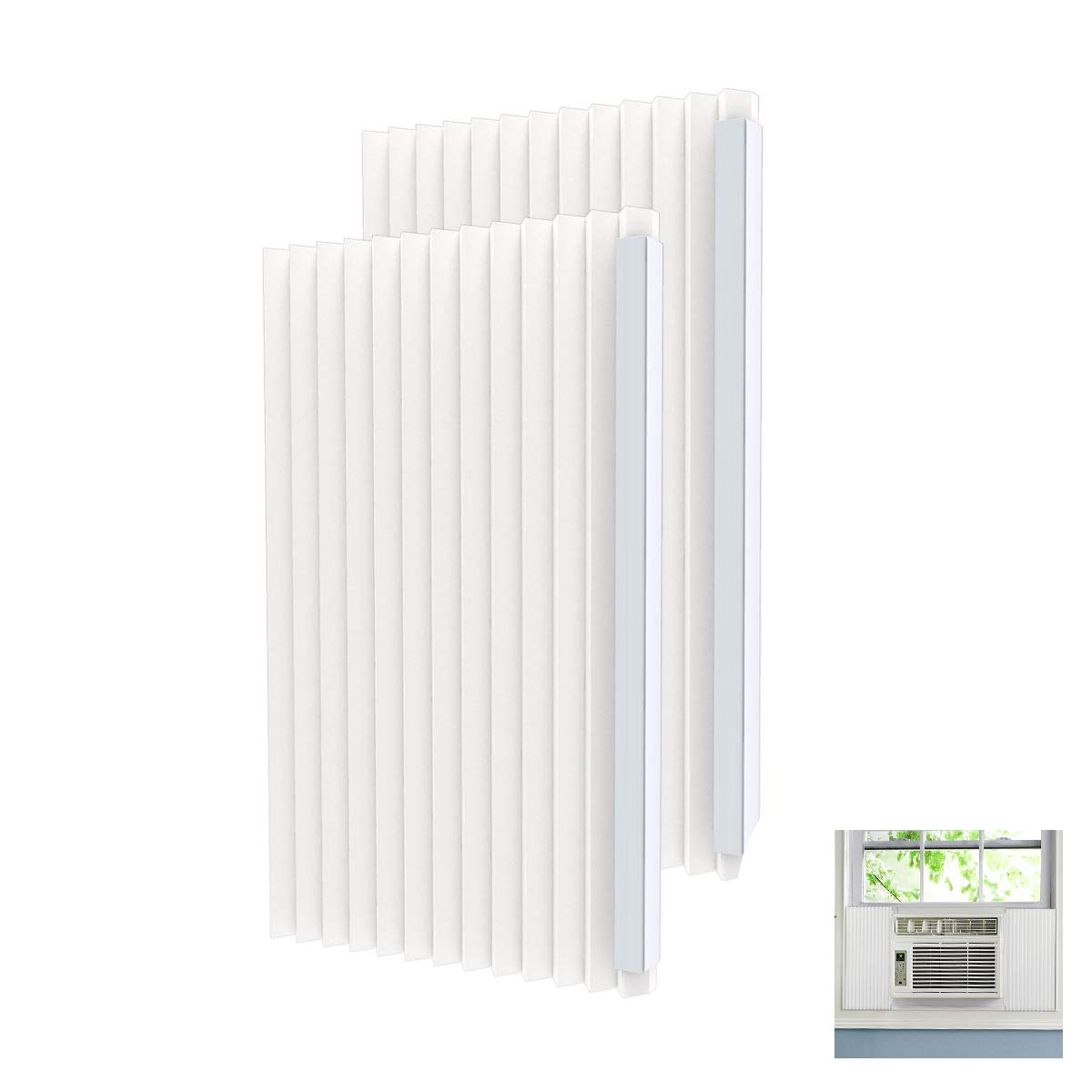 Forestchill Window Air Conditioner Side Insulated Foam Panel Kit, AC Units Insulation Panels Set 17 in X 9 in X 7/8 in, Pack of 2, White