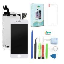 Screen Replacement for iPhone 6 Plus (5.5') - LCD Display Touch Digitizer Frame Assembly Set with Proximity Sensor, Front Camera, Earpiece, Tempered Glass, Repair Tools and Instruction (White)