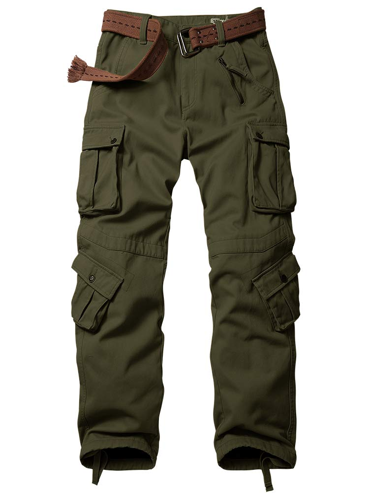 Mens Fleece Lined Cargo Pants, Casual Heavyweight Winter Warm Windproof Thicken Sweatpants
