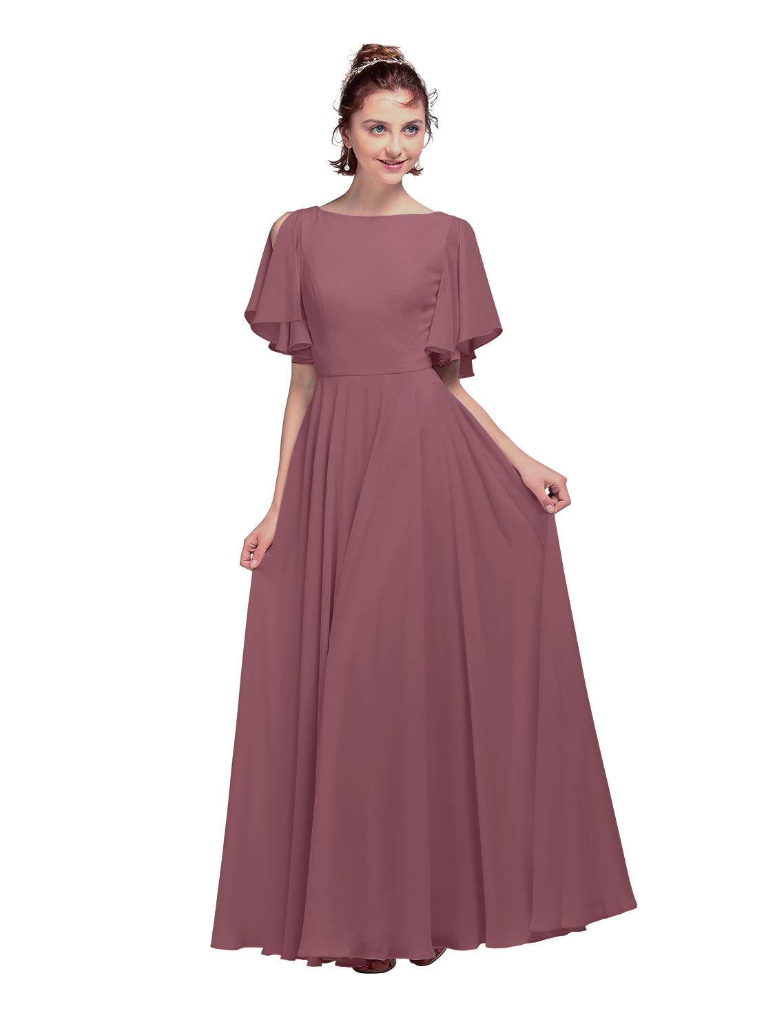 AW BRIDAL V Back Chiffon Bridesmaid Dresses with Sleeves Long Plus Size Wedding Formal Evening Party Dress