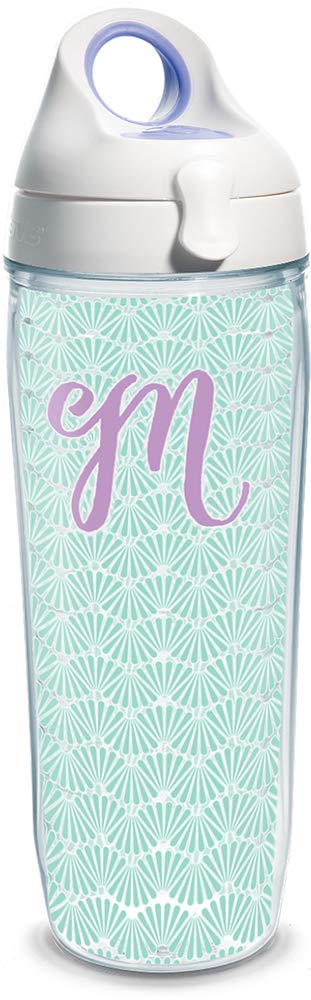 Tervis 1317331 INITIAL-M Teal Scallop Insulated Tumbler with Wrap and Lid, 24 oz Water Bottle - Tritan, Clear
