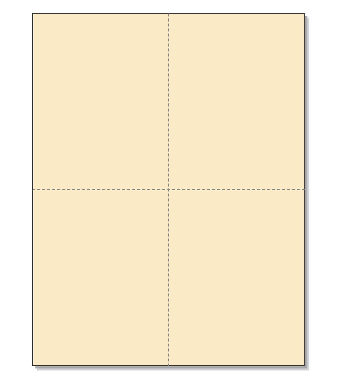 "8-1/2"" x 11"" Laser/Inkjet Postcards 4 Per Page, (4-1/4"" x 5-1/2"" Each Card | Manila, 200 Cards)"