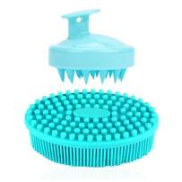 1 Pack Blue Exfoliating Silicone Body Scrubber,YuCool Soft Bath Shower Brush Gentle Back Skin Exfoliation with 1 Pack Green Hair Massager Shampoo Brush Gift for Baby Kids and Family