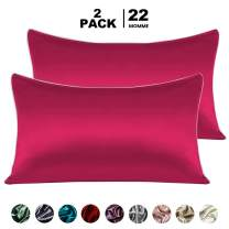 """NEKOCAT Silk Pillowcase for Hair and Skin 2PCS 20""""x26"""" One Side 100% 22 Momme Mulberry Silk Bed Pillow case Hypoallergenic Soft Breathable Organic Pure Pillowcase with Envolop Design(Burgundy)"""