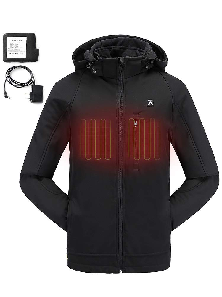 COLCHAM Heated Jackets for Men Slim Fit Soft Shell Winter Jacket with Battery and Charger