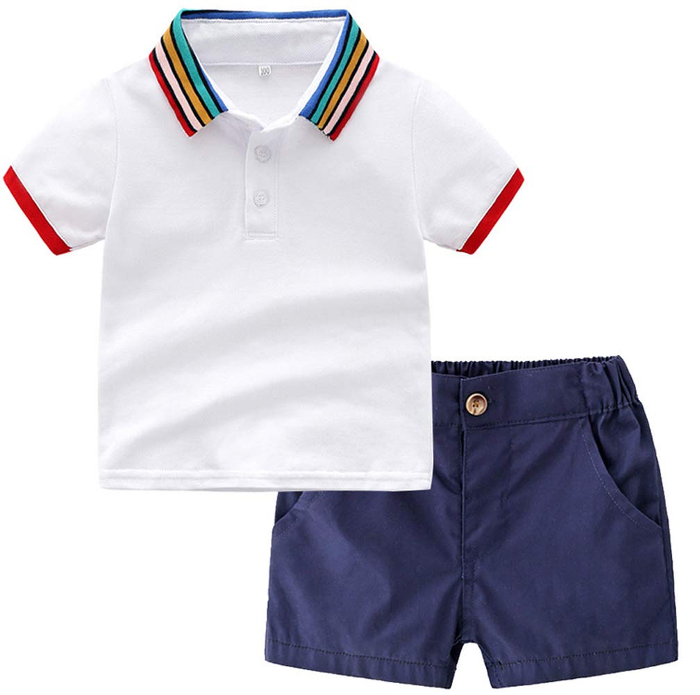SALNIER Baby Boy Polo Shirts Set Toddler Playwear Cotton Cloth 2 Pieces Tee Outfits T-Shirt & Shorts 9 Month - 5 Years