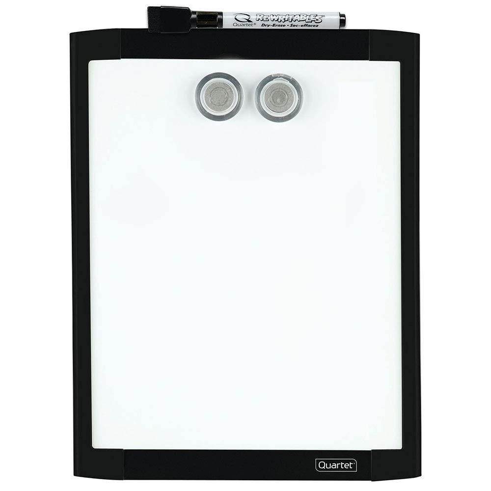 """Quartet Magnetic Whiteboard, 8-1/2"""" x 11"""" White Board for Wall, Dry Erase Board for Kids, Perfect for Home Office & Home School Supplies, 1 Dry Erase Marker, 2 Magnets, Black Frame (MHOW8511-BK)"""