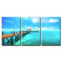 """wall26 - 3 Piece Canvas Wall Art - Exotic Caribbean Island. Tropical Beach Resort. Travel or Vacations Concept - Modern Home Decor Stretched and Framed Ready to Hang - 24""""x36""""x3 Panels"""