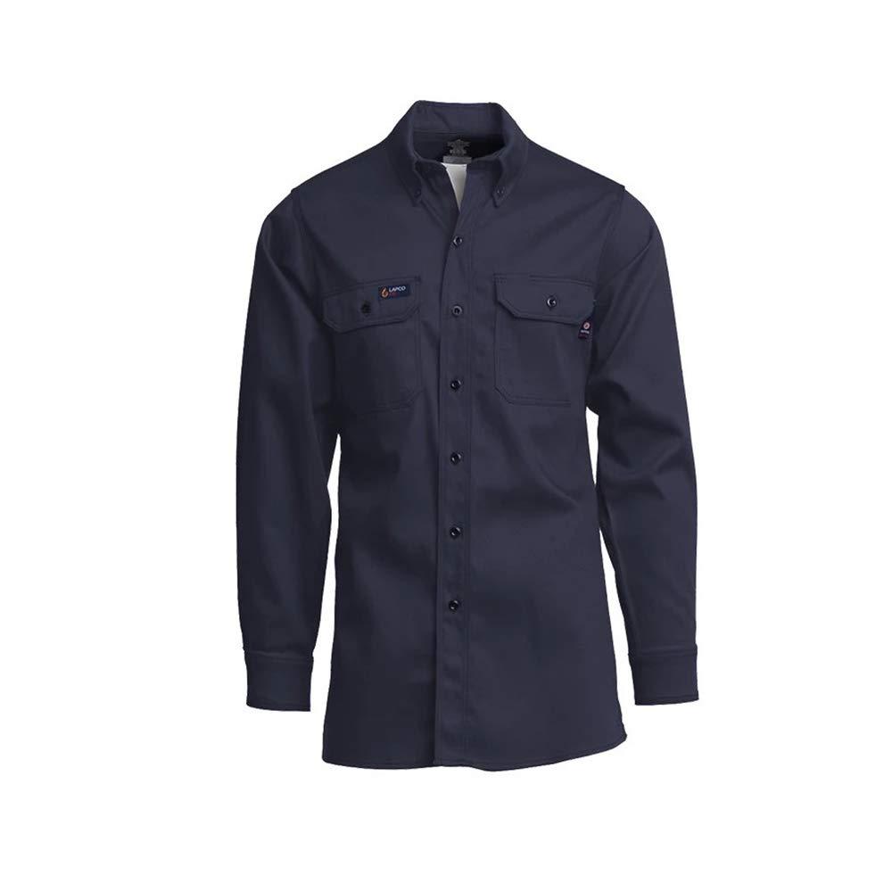 LAPCO INV7-LARGE-REG Lightweight 100-Percent Cotton Flame Resistant Work Shirt, Navy, Large, Regular