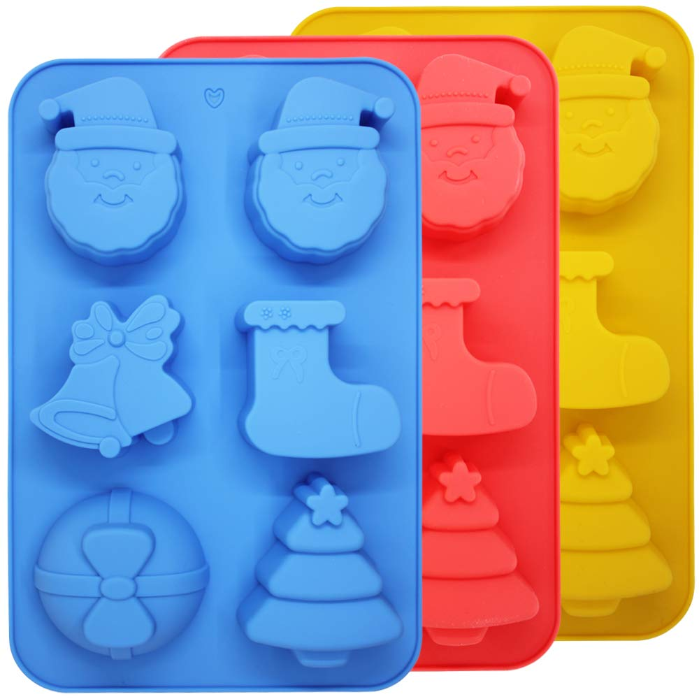 SourceTon 3 Packs Christmas Silicone Baking Mold, Christmas Tree, Santa Claus, Shape Mold for Candy, Pudding, Ice Cube, Handmade Soap, Cake Decoration