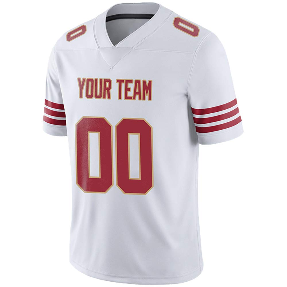 Pullonsy White Custom Football Jerseys for Men Stitched Team Name and Your Numbers,Red-Gold,Size L