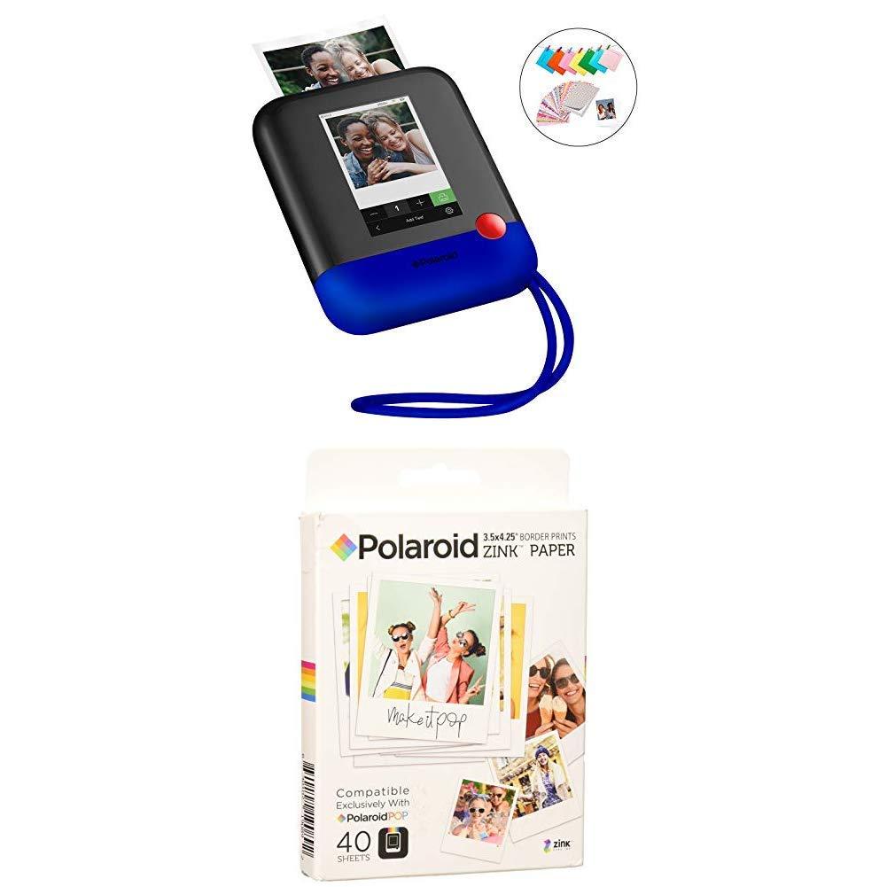 Polaroid Pop 2.0 2 in 1 Wireless Portable Instant 3x4 Photo Printer & Digital 20MP Camera(Blue) with 3.5 x 4.25 inch Premium Zink Border Print Photo Paper (40 Sheets)