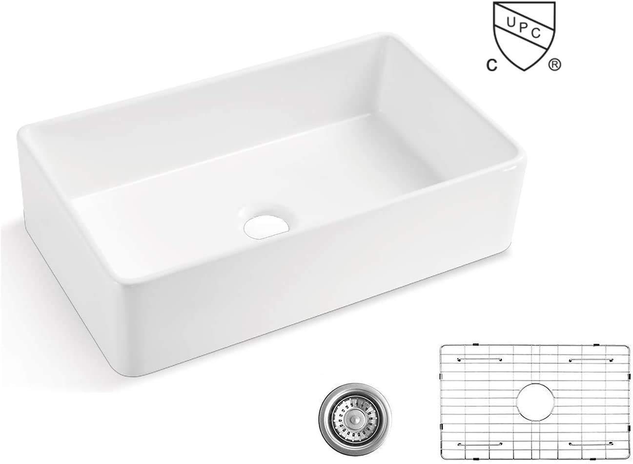 ALWEN 33 White Farmhouse Sink, Fireclay 33 Apron Front sink, Luxury Single Basin Kitchen Sink, 33 inch Farmhouse Sink, White Ceramic Sink with Stainless Steel Grid and Strainer