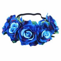 Edary Rose Flower Crown Wedding Floral Wreath Garland with Elastic Rope Hair Band Rose Hair Accessories for Women and Girls(1PC) (Colored Blue)