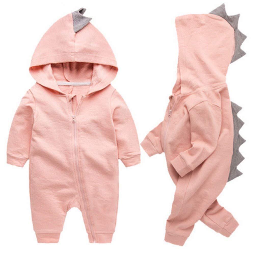 Newborn Baby Boys Girls Cartoon Dinosaur Hoodie Romper Onesies Jumpsuit Outfits