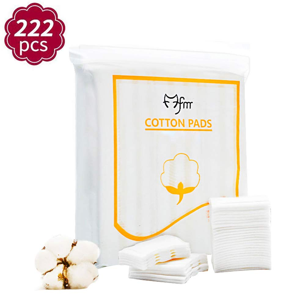 Premium 100% Natural Cotton Cotton Pads, 222 PCS Cosmetic Facial Eye Makeup Remover Pads Square Cotton Puff,Double-Side Save Water Soft Gentle Makeup Tools