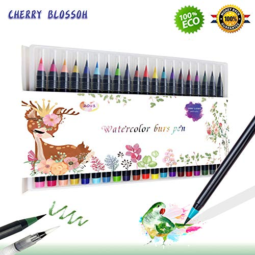CHERRY BLOSSOM Watercolor pen set 20 color water pen painting brush watercolor pen, water color ink Soft elastic pen tip adult coloring book, manga, calligraphy Color1 (color2)