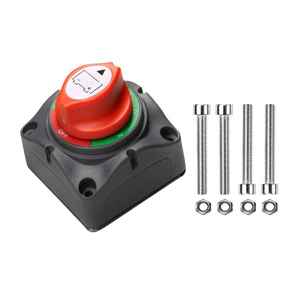 1-2-Both-Off Battery Switch, 12-48V 200-1000 Amps Battery Power Cutoff Master Switch Disconnect Isolator for Car Vehicle RV ATV UTV Marine Boat