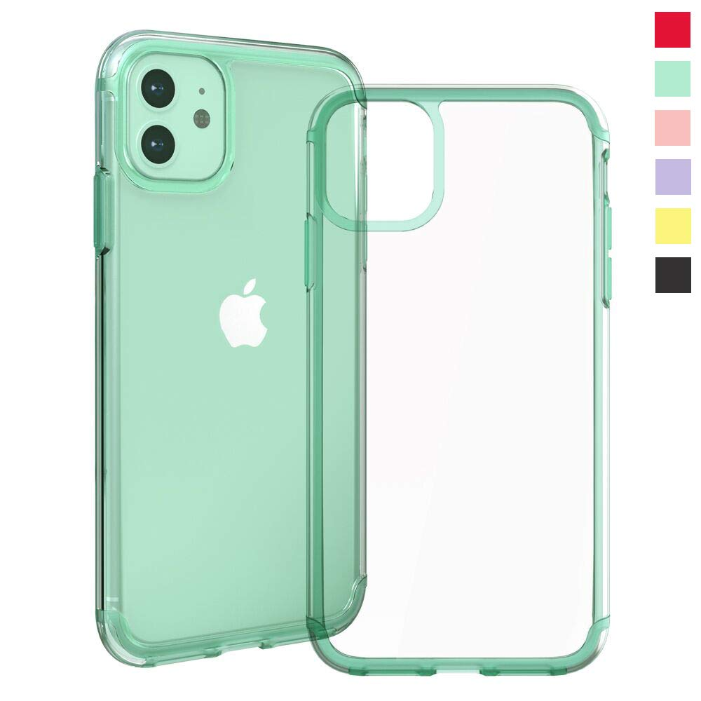 Inbeage Transparent iPhone 11 Case Colorful iPhone 11 Case with Matching Color Edge Full-Protective Shockproof Slim Case for iPhone 6.1inch (Green)