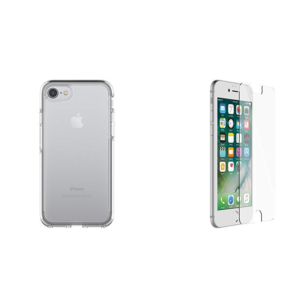 OtterBox SYMMETRY CLEAR SERIES Case for iPhone 8 & iPhone 7 (NOT Plus) - Retail Packaging - CLEAR & ALPHA GLASS SERIES Screen Protector for iPhone 6/6s/7/8 (NOT Plus) - Retail Packaging - CLEAR