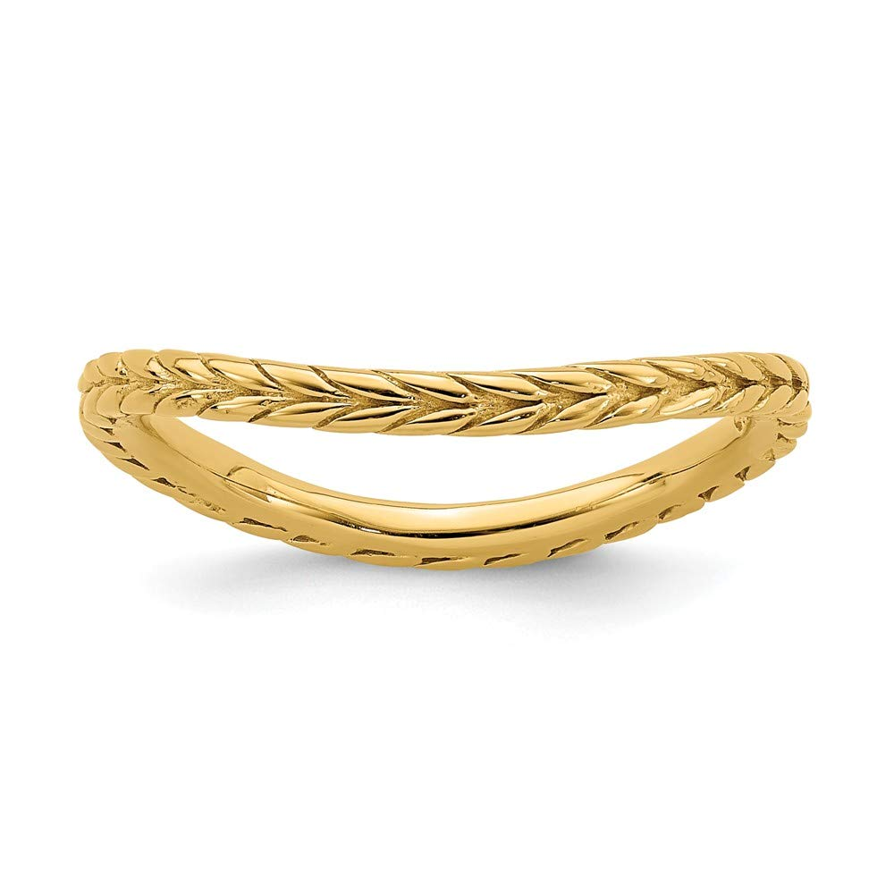 925 Sterling Silver Gold Plated Wave Band Ring Stackable Curved Fine Mothers Day Jewelry For Women Gifts For Her