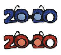Beistle 50661-20 Glittered 2020 Plastic Eye Glasses 2 Piece New Year's Novelty Eyewear, Graduation Party Supplies, One Size, Multicolored