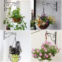 "Saim Hanging Plants Bracket 10.2"" Wall Mounted Iron Plant Flower Pot Hook Hanger for Planter Bird Feeder Lanterns Wind Chimes with Screws(Black)"